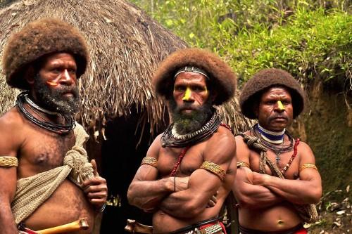 Удивительных племен много. Вот эти папуасы из Новой Гвинеи с помощью особых ритуалов они заставляют волосы расти быстрее, чтобы можно было создать традиционную прическу.